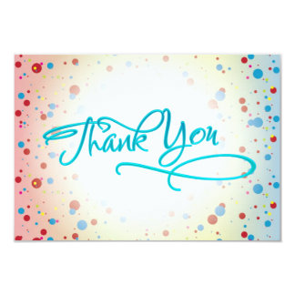 Bright Colorful Dots Glowing Center Thank You Card Personalized Invitation