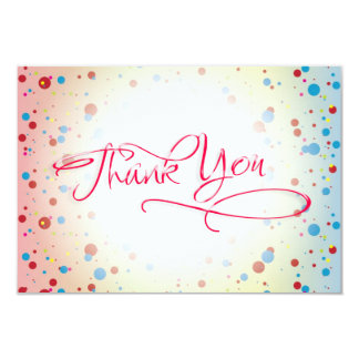 Bright Colorful Dots Glowing Center Thank You Card Invite