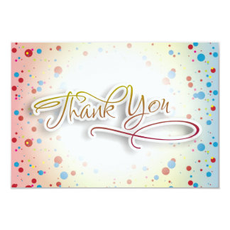 """Bright Colorful Dots Glowing Center Thank You Card 3.5"""" X 5"""" Invitation Card"""