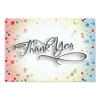 Bright Colorful Dots Glowing Center Thank You Card Announcements