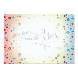 Bright Colorful Dots Glowing Center Thank You Card Personalized Announcements