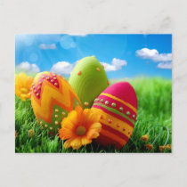 Bright Colorful Easter Egg design Holiday Postcard