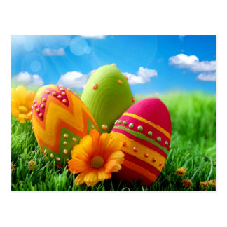 Bright Colorful Easter Egg design Postcard