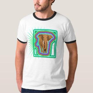 Bright Colorful Elephant Motif T-Shirt