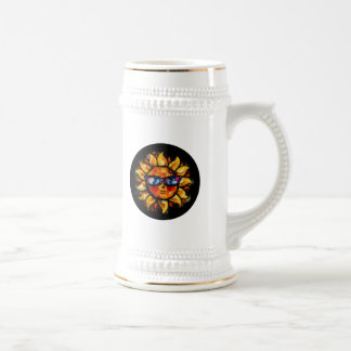 Bright Colorful Expressionist Sun with Sunglasses Beer Stein