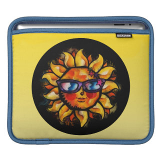 Bright Colorful Expressionist Sun with Sunglasses iPad Sleeves