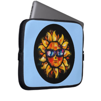 Bright Colorful Expressionist Sun with Sunglasses Laptop Computer Sleeve