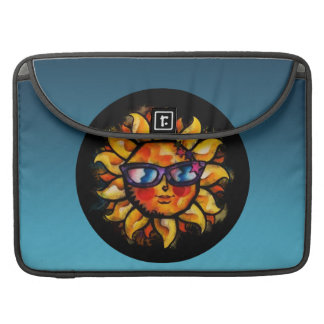 Bright Colorful Expressionist Sun with Sunglasses Sleeve For MacBooks