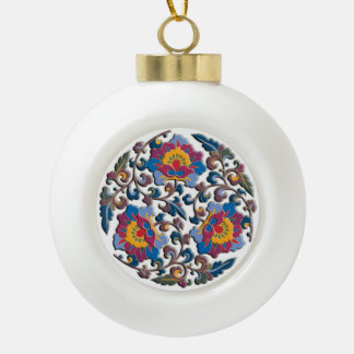 Bright colorful floral arabesque in Chinese style Ornaments