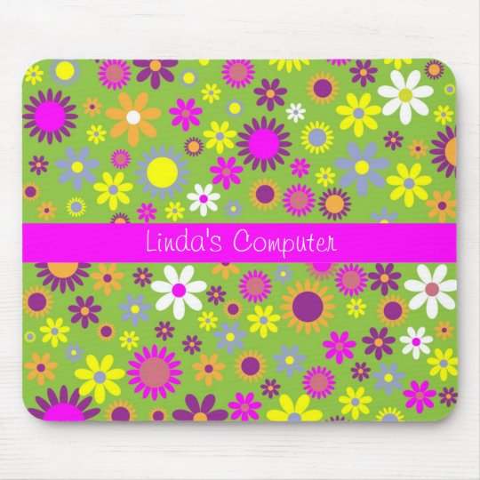 Bright Colorful Floral Mousepad