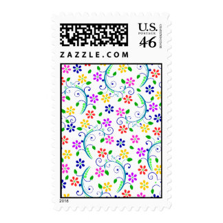 Bright, Colorful Floral Swirly Card Ensemble Postage
