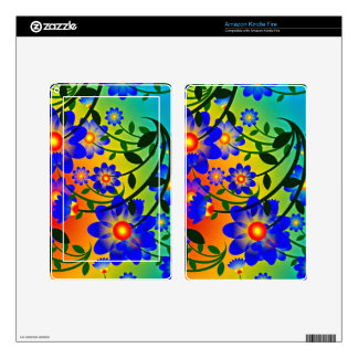 Bright Colorful Flower Design Kindle Fire Skin
