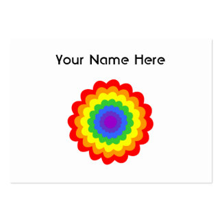 Bright colorful flower in rainbow colors. business card template