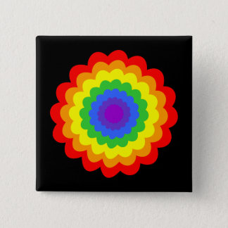 Bright colorful flower in rainbow colors. button