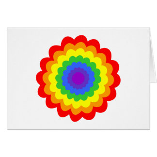 Bright colorful flower in rainbow colors. greeting card