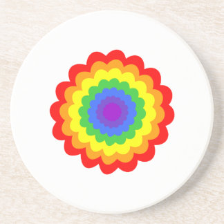 Bright colorful flower in rainbow colors. beverage coasters
