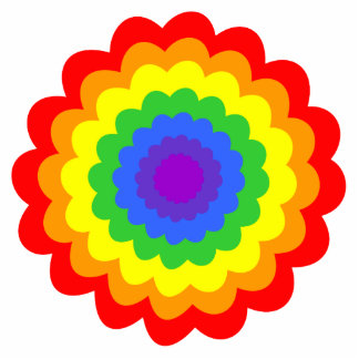 Bright colorful flower in rainbow colors. cut out
