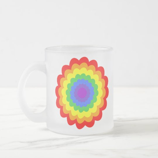 Bright colorful flower in rainbow colors. frosted glass coffee mug