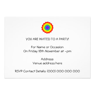 Bright colorful flower in rainbow colors. personalized invitation