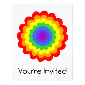 Bright colorful flower in rainbow colors. custom invites