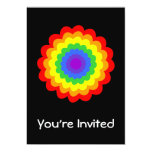 Bright colorful flower in rainbow colors. 5x7 paper invitation card