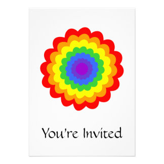 Bright colorful flower in rainbow colors. invitations