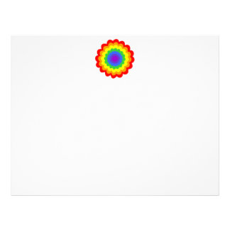 Bright colorful flower in rainbow colors. personalized letterhead