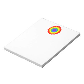 Bright colorful flower in rainbow colors. memo pad
