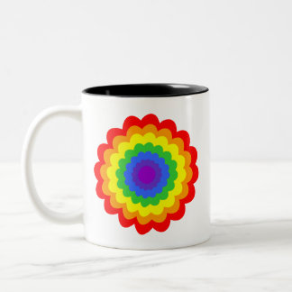 Bright colorful flower in rainbow colors. coffee mugs