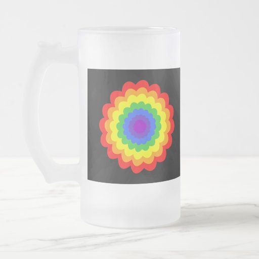 Bright colorful flower in rainbow colors. 16 oz frosted glass beer mug