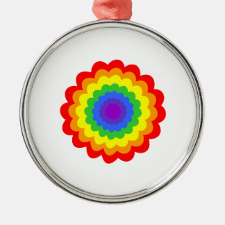 Bright colorful flower in rainbow colors. christmas tree ornament
