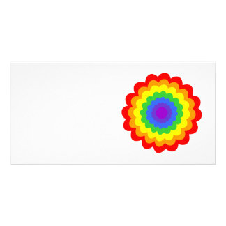 Bright colorful flower in rainbow colors. photo cards