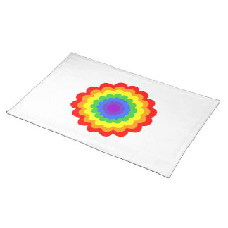 Bright colorful flower in rainbow colors. place mat