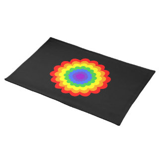 Bright colorful flower in rainbow colors. placemat