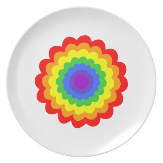 Bright colorful flower in rainbow colors. plate