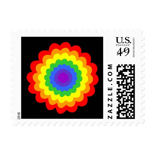 Bright colorful flower in rainbow colors. postage stamp