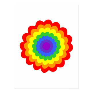 Bright colorful flower in rainbow colors. postcard