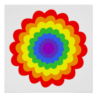Bright colorful flower in rainbow colors. poster