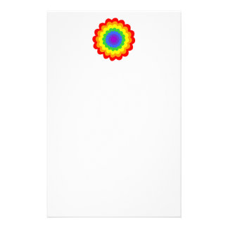 Bright colorful flower in rainbow colors. stationery paper