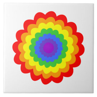Bright colorful flower in rainbow colors. tiles