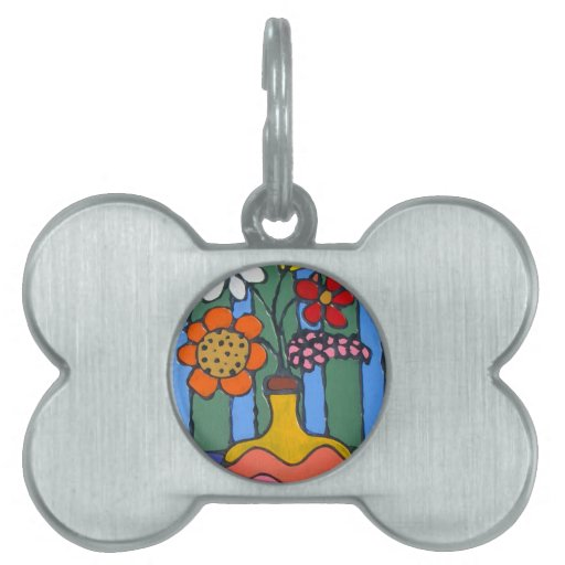 Bright Colorful Flowers Pet Name Tag