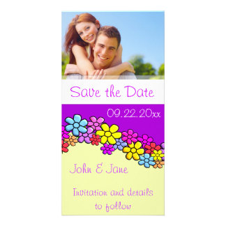 """Bright Colorful Flowers/photo  """"Save the Date"""" Personalized Photo Card"""