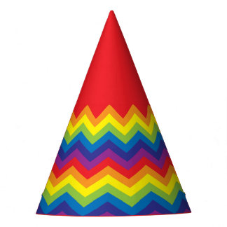 Bright Colorful Fun Rainbow Color Party Hat! Party Hat