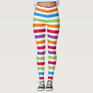 Bright Colorful Fun Striped Pattern Leggings