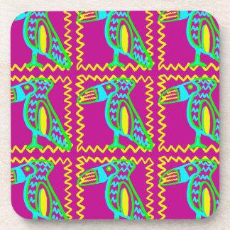 Bright Colorful Fun Toucan Tropical Bird Pattern Beverage Coaster