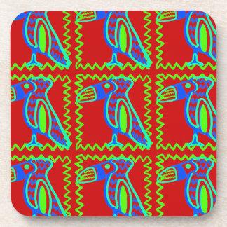 Bright Colorful Fun Toucan Tropical Bird Pattern Coaster
