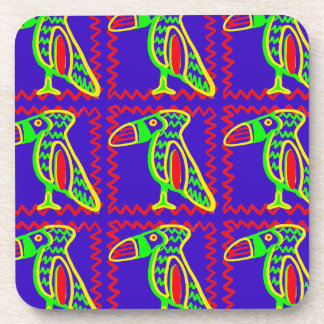 Bright Colorful Fun Toucan Tropical Bird Pattern Drink Coaster
