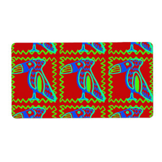 Bright Colorful Fun Toucan Tropical Bird Pattern Label
