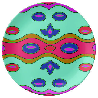 Bright Colorful Funky Abstract Plate