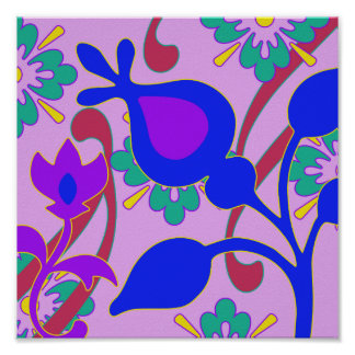 Bright Colorful Funky Flowers Abstract Art Print